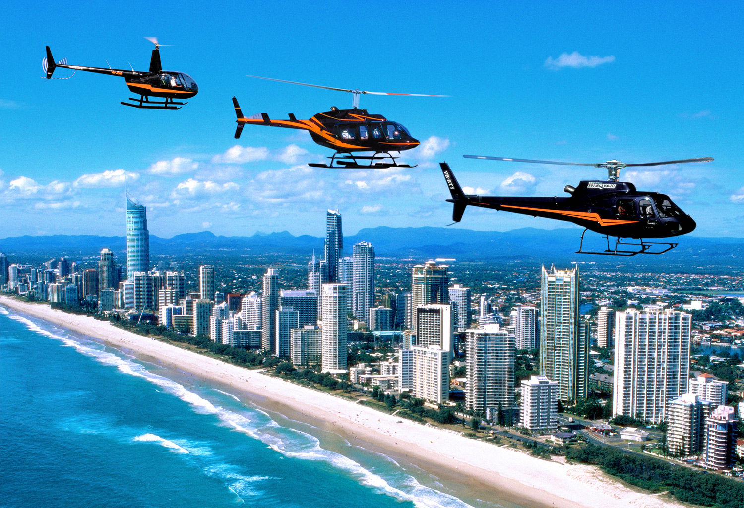 Helicopters over Surfers Paradise